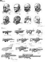 Concept Art - Masks n Guns by JerryCai
