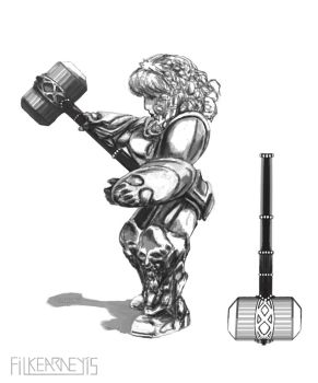 Dwarf Hammer Maiden by FilKearney