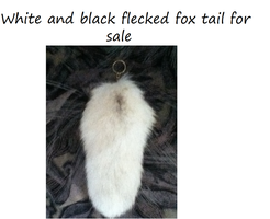 White and black flecked fox tail for sale by WolfTwine