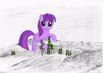 Relaxing on the Mountain - Giant Twilight Sparkle by FlutterbatIsMagic