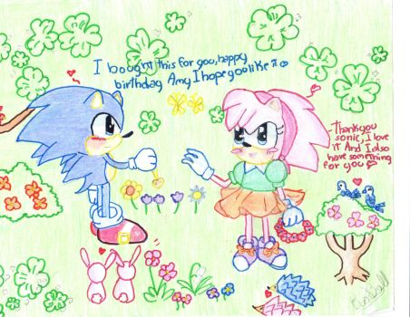 Classic sonic and classic amy by adrianarosabell