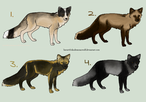 CLOSED ~ 4 Inexpensive Fox Adoptables by Animal-Canine-Adopts