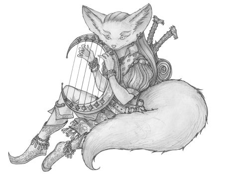 [COMMISSION] Cu Sidhe - Kitsube Bard by s0ulafein