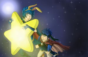 Marth and Ike Warp Star COLOR by Karmikosmic