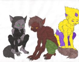 Odd, Yumi, and Ulrich wolfies by demongirl99