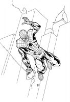 Spiderman black and white by MikeOppArt