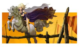 Daenerys riding silver by OlayaValle