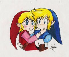 Red and Blue Link by Inuyasha-no-e