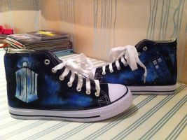 Doctor Who Customised Converse by sillylittlerocksongs