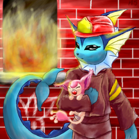 Vaporeon FireFighter by SonicRose