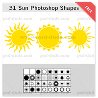 Sun Photoshop Shapes by PsdDude