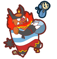 Emboar and Tympole by Pokemon-Diamond