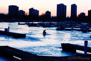 ice fisher in chicago lake by djqcookie
