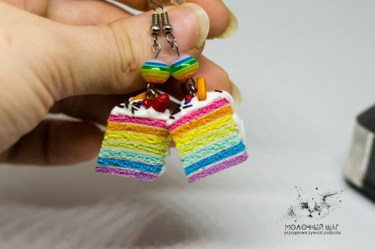 Rainbow Cake Earrings with Strawberry and Waffle by FoodFairy