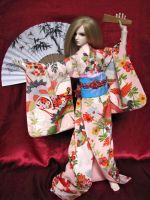 BJD Kimono, Haru is Dancing by InarisansCrafts