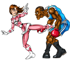 Pink Ranger vs Balrog by Toadman005