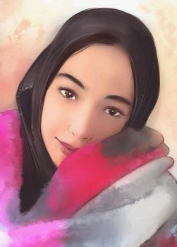 Commission beautiful girl portrait by Everybery