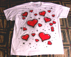 Black over red hearts shirt by Orbcreation