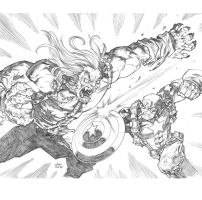 Sabertooth and Captain America by a-archer