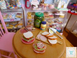 Ham Sandwiches miniature by LittlestSweetShop