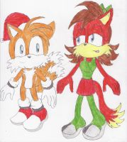 Tails x Fiona Christmas by BlueSpeedsFan92