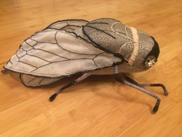 Cicada Soft Sculpture In Gray and Silver by mollyburgess
