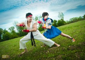 Street Fighter - Ryu - Sakura - FIGHT by JilliD