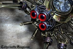 Steampunk Clockwork Spider Sculpture - Closeup by CatherinetteRings