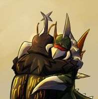 Gigan Hugs Megalon by Drbuffalo