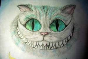 Cheshire cat greeting card by La-Chapeliere-Folle