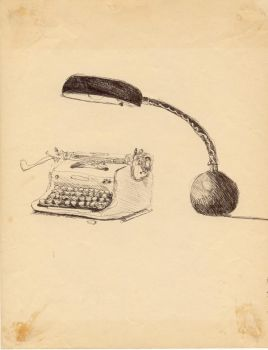Typewriter and Lamp by toddalcott