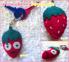 Strawberry Keychain by psycolicious
