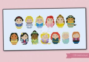 Mini People - Disney Princesses cross stitch by cloudsfactory