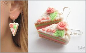 ".:Earrings ""Cream cake"":. 1 by AnielClayWorks"