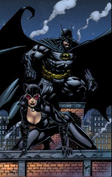 Batman and Catwoman pin up by spidey0318