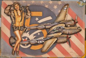 Aviation Pinups - P-38 Lightning by warbirdphotographer