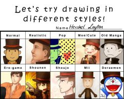 Layton in different styles by Iivis