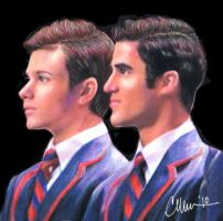 Kurt + Blaine - Drawing by Live4ArtInLA