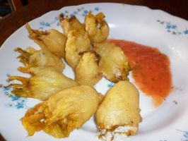 Fried zucchini flowers stuffed with cheese by Younae