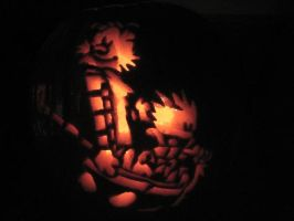 Calvin and Hobbes Ride Pumpkin by chromegoddess