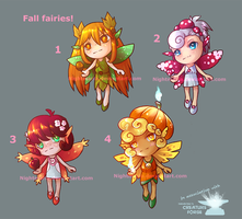 Adoptable fall fairies: 4/4 OPEN! Paypal only! by Nightmaria