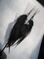Black Feather Earrings by TRANS4MATICA