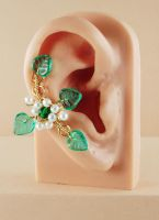 Green, White and Gold Fairy Ear Cuff by sylva