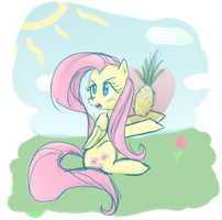 Fluttershy defends pineapple by CeleryPony