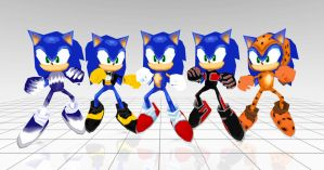 Sonic costumes from Sonic rivals 2 by JJpros