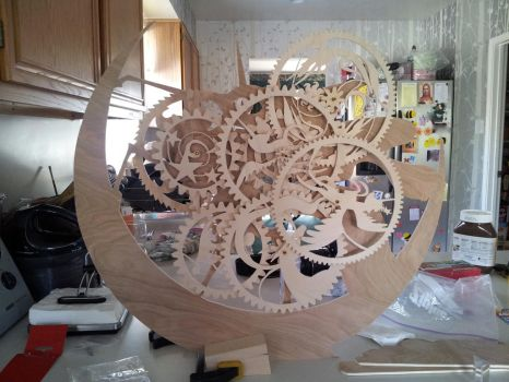 MLP Nightmare moon themed wooden clock WIP by weRDunfo
