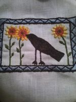 Crow and Sunflowers by Ephemeroptera-Gnome