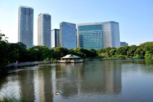 Hamarikyu Tea House and Towers by AndySerrano