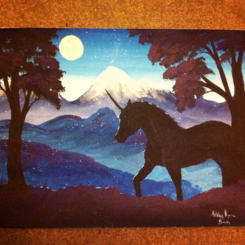 Unicorn in the Moonlight by DreamingPainter