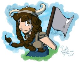 Viking girl with an axe by scheree
